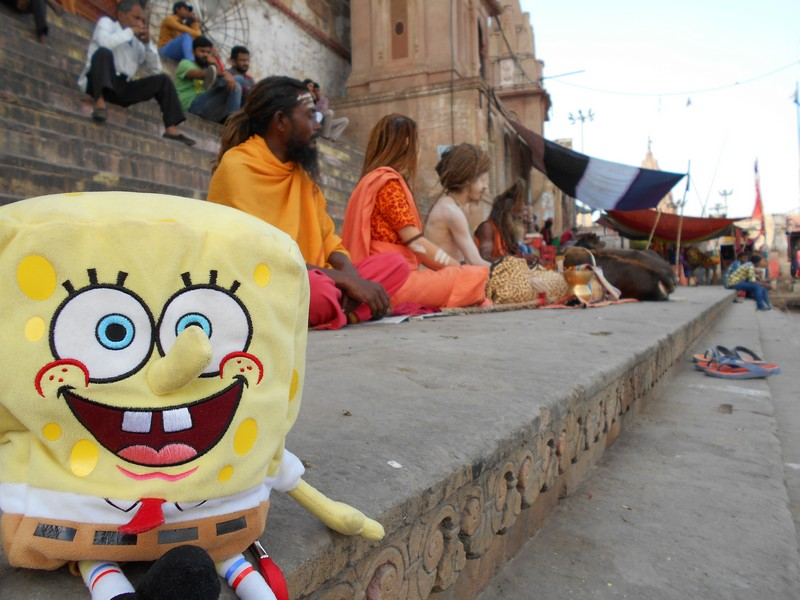 As I didn't want to travel alone, mostly in India, I got an unconventional travel buddy: SpongeBob SquarePants. This is my favorite cartoon.
