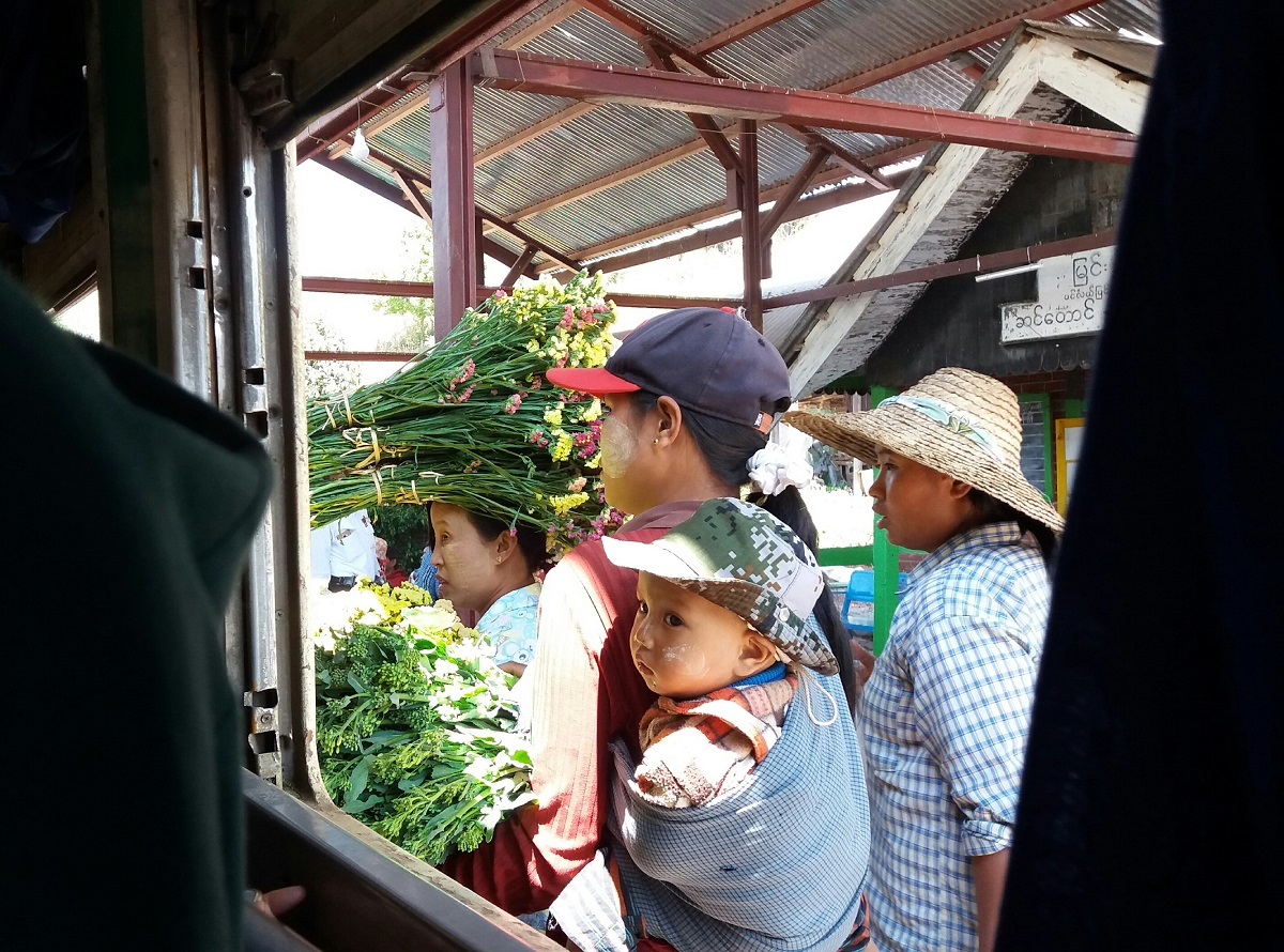 Slow train to Thazi from Inle Lake in Myanmar
