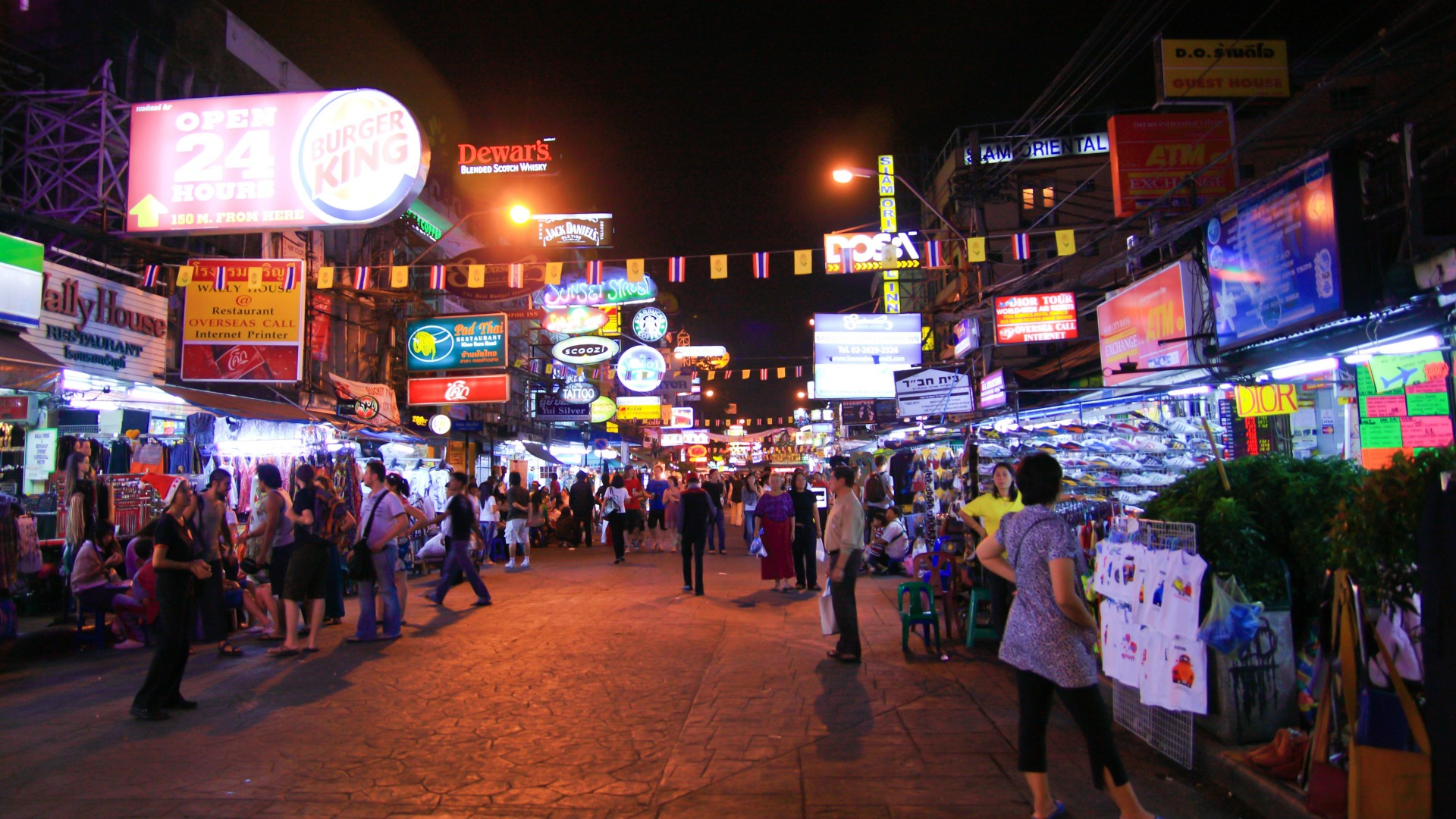 Khao San road is the most popular nightlife street in Bangkok for tourists. By the night the street is full of people, mostly tourists.