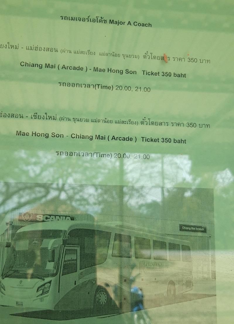 Bus from Mu Aye Pu to Mae Sariang to Chiang Mai