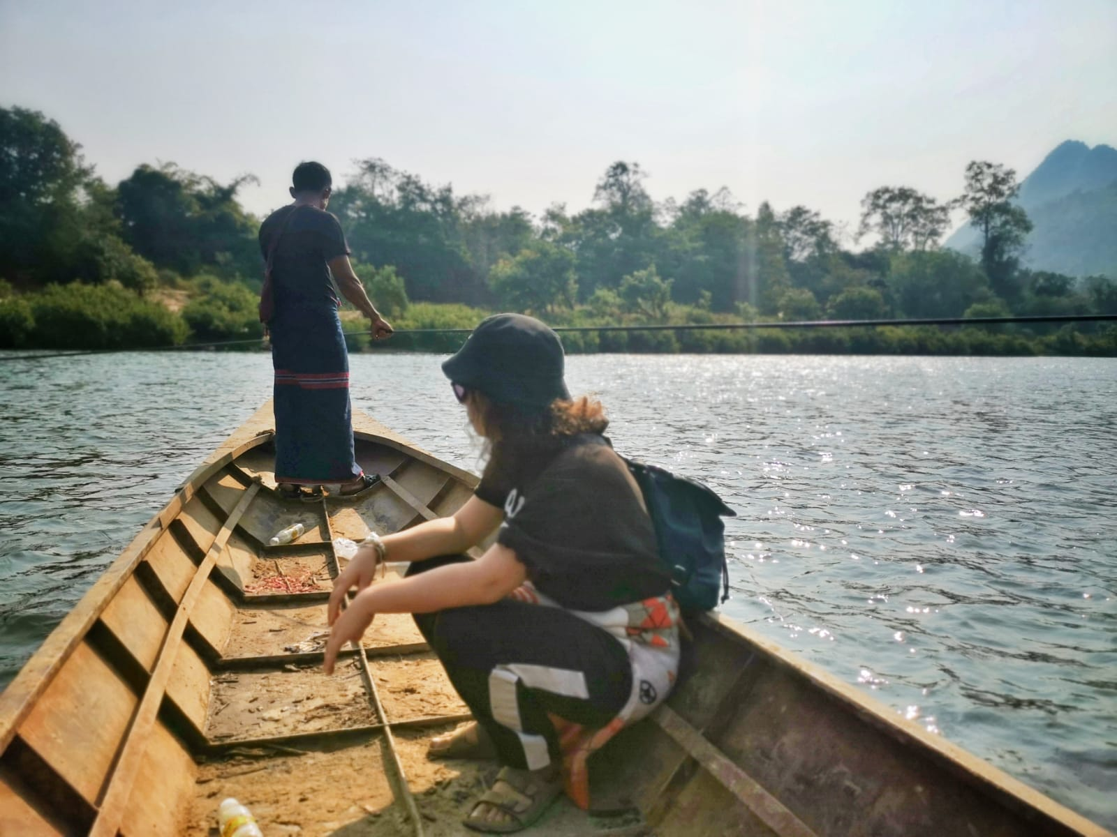 The 1st day was tough. We, me, the other volunteer and 2 of Sabine's kids, had the task of bringing bricks from the other side of the river and through uphills