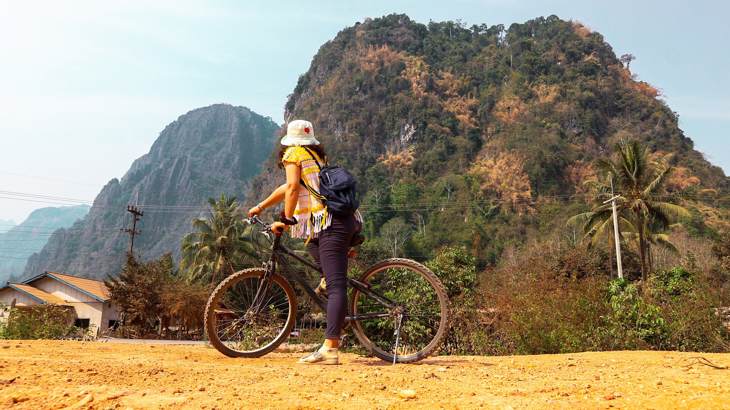 Vang Vieng cave exploring by bicycle